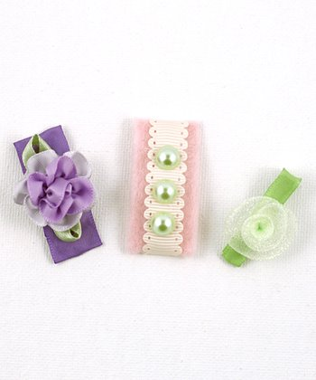 Pink & Purple Pearl Flower Clip Set