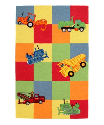 Red Trucks Galore Wool Rug