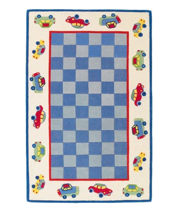 Blue & Ivory Car Wool Rug