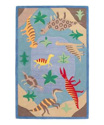 Blue Dinosaur Fun Wool Rug