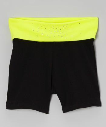 Neon Yellow & Black Rhinestone Yoga Shorts - Toddler & Girls