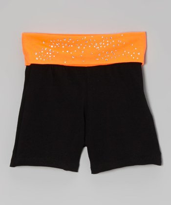 Neon Orange & Black Rhinestone Yoga Shorts - Toddler & Girls