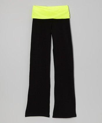 Neon Yellow & Black Yoga Pants - Toddler & Girls