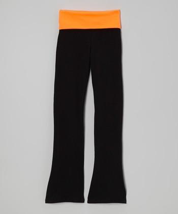 Neon Orange & Black Yoga Pants - Toddler & Girls