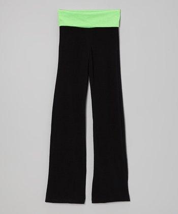 Neon Lime & Black Yoga Pants - Toddler & Girls