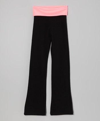Neon Pink & Black Yoga Pants - Toddler & Girls
