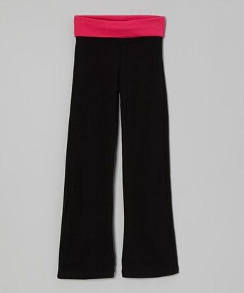 Fuchsia & Black Yoga Pants - Toddler & Girls
