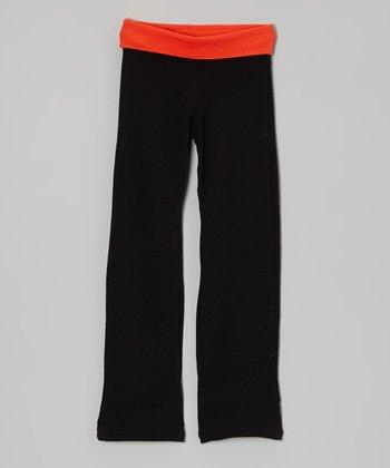 Orange & Black Yoga Pants - Toddler & Girls