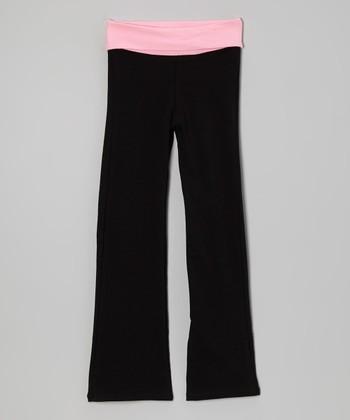 Light Pink & Black Yoga Pants - Toddler & Girls