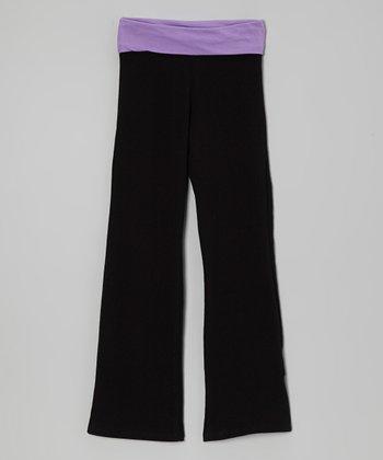 Purple & Black Yoga Pants - Toddler & Girls