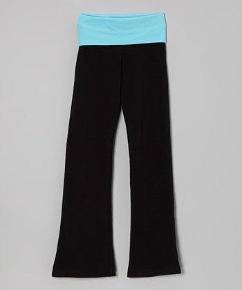 Blue & Black Yoga Pants - Toddler & Girls