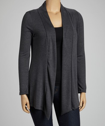 Charcoal Long-Sleeve Open Cardigan - Plus