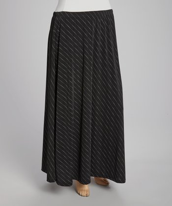 Black & White Stripe Maxi Skirt - Plus