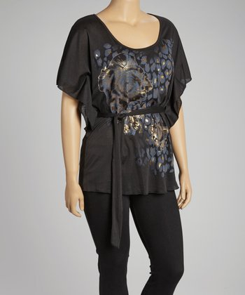 Black Leopard Cape-Sleeve Top - Plus