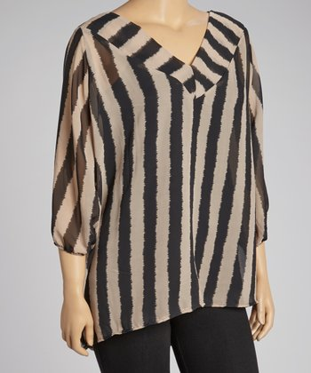 Black & Khaki Sheer Stripe V-Neck Top - Plus