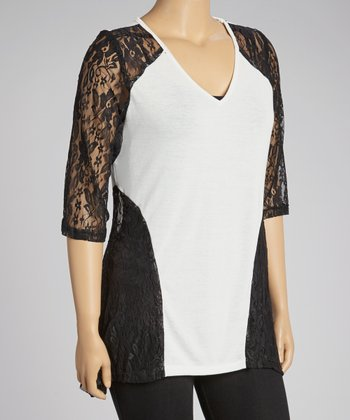 Ivory & Black Lace-Sleeve V-Neck Top - Plus