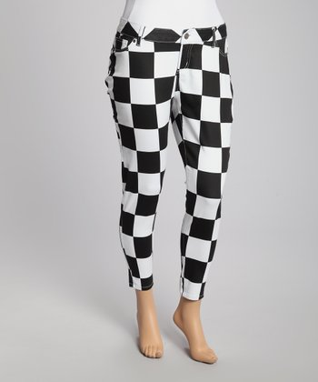 White & Black Checkerboard Skinny Jeans