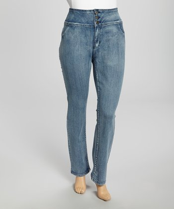 Medium Wash Three-Button High-Waisted Skinny Jeans - Plus
