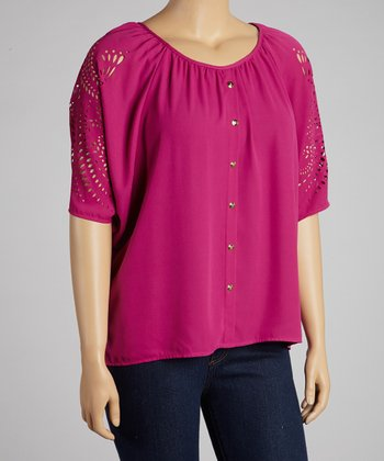 Purple Eyelet Cape-Sleeve Button-Up Top - Plus