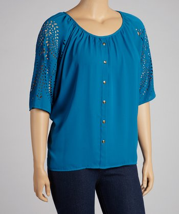 Teal Eyelet Cape-Sleeve Button-Up Top - Plus