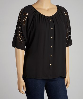 Black Eyelet Cape-Sleeve Button-Up - Plus
