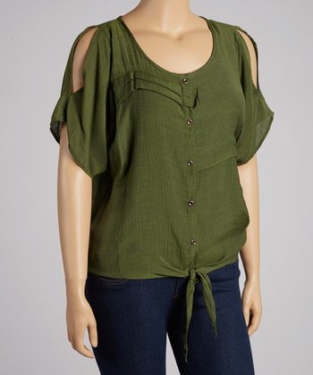 Olive Pleated Tie-Up Button-Up Top - Plus