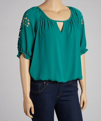Emerald Star Eyelet Peasant Top - Plus
