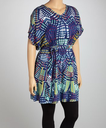 Navy & Green Geometric Lattice Tunic - Plus
