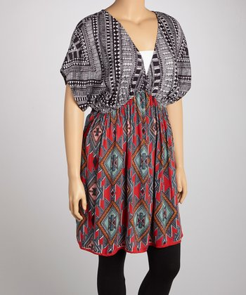 Black & White Tribal Cape-Sleeve Tunic - Plus