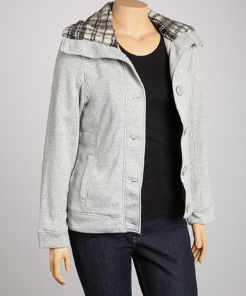 Gray Button-Up Jacket - Plus