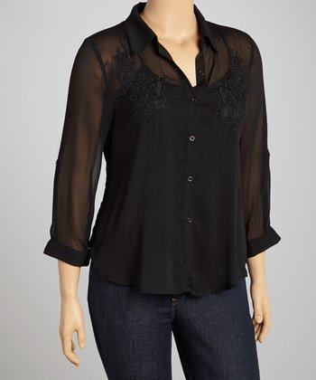 Black Embroidered Hi-Low Woven Button-Up - Plus