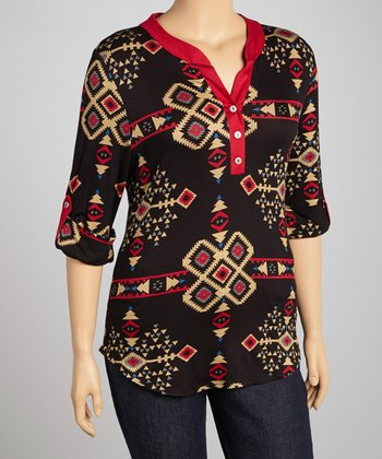 Black & Red Tribal Henley - Plus