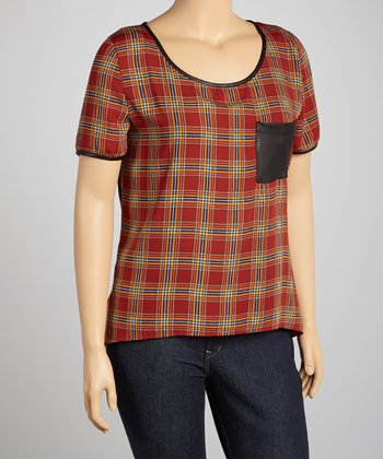 Red Plaid Penny Pocket Hi-Low Top - Plus