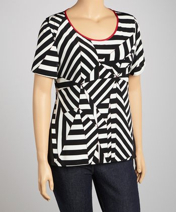 Black & White Geometric Stripe Top - Plus