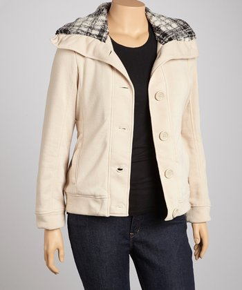 Beige Button-Up Jacket - Plus