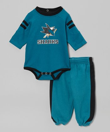 Teal San Jose Sharks Bodysuit & Sweatpants - Infant
