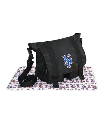 Black New York Mets Sitter Diaper Bag