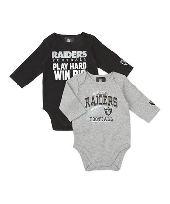 Gray Oakland Raiders Long-Sleeve Bodysuit Set - Infant
