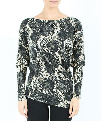 Black & White Snakeskin Lace Konya Top