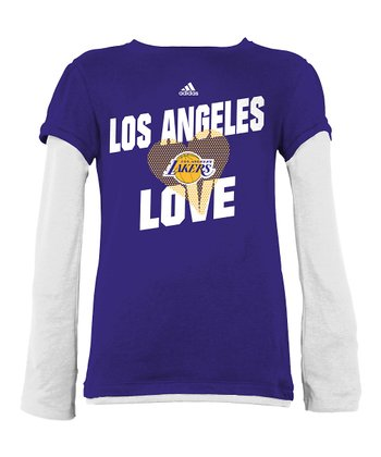 White & Purple Heart Los Angeles Lakers Layered Tee - Girls