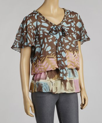 Brown & Blue Chiffon Angel-Sleeve Top