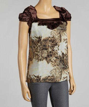 Brown Snakeskin Chiffon Top