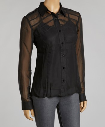 Black Sheer Layered Button-Up