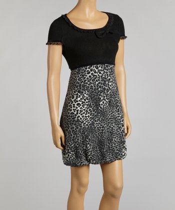 Black & Gray Leopard Ruffle Dress