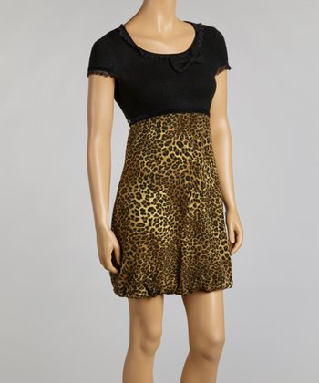 Black & Brown Leopard Ruffle Dress