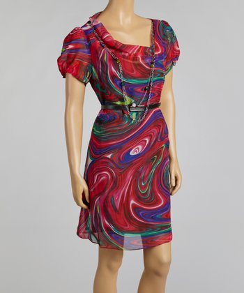 Ruby Red Swirl Belted Dress
