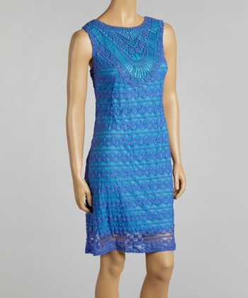 Royal Blue Allover Lace & Chiffon Sleeveless Dress