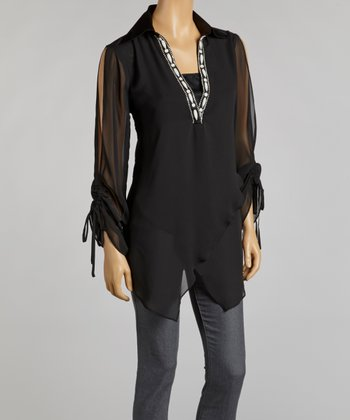 Black Chiffon Layered Handkerchief Tunic