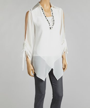 Off-White Chiffon Layered Handkerchief Tunic