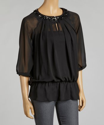 Black Chiffon Layered Top